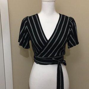 Forever 21 black Striped Crop Top